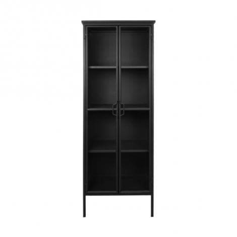 Vitrine Manhattan 180x63cm à 2 portes - métal noir/verre
