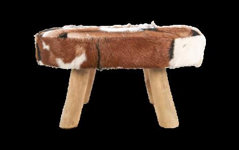 Patchwork Ottoman - ovale - naturel - peau de chèvre
