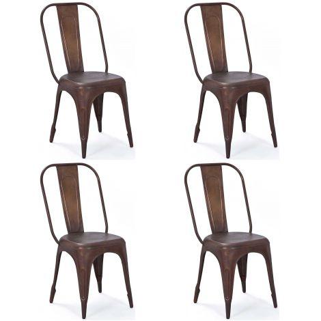 Lot de 4 chaises Aix - rouille