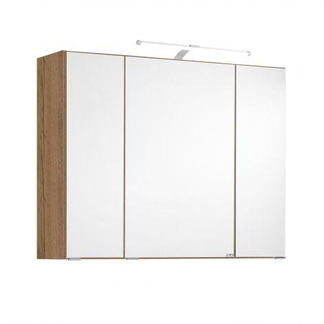 Spiegelkast Bobbi 80cm model 2 3 deuren & ledverlichting - eik