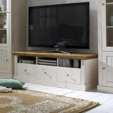 Meuble tv Edmund 3 tiroirs 145 cm - blanc/provence