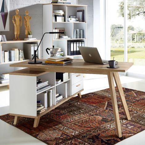 Bureau d'angle Ousmane 145cm scandinave - chêne/blanc