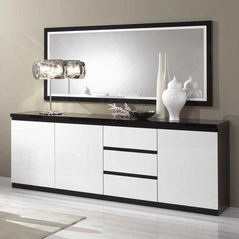 Dressoir Roma 3 deuren & 3 lades - zwart/wit