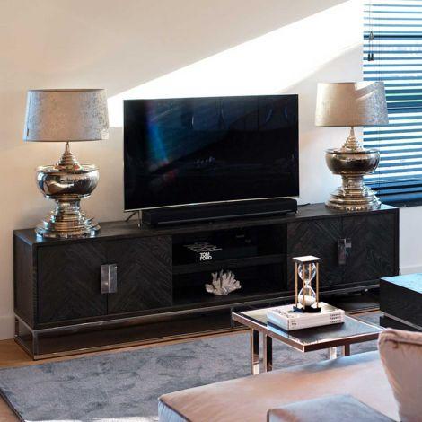 Tv-meubel Bony 220cm 4 deuren - zwart/zilver