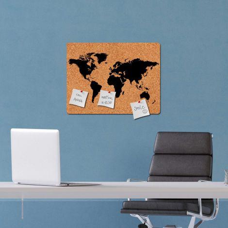 Muursticker prikbord World Map