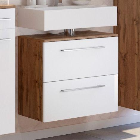 Meuble sous lavabo Sefa 60cm 1 porte & 1 tiroir - chêne/blanc