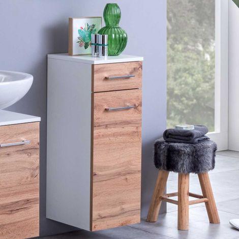 Badkamerkastje Pares 30cm 1 deur & 1 lade - wit/wotan eik