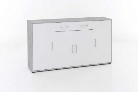 Dressoir Denise 4 deuren & 2 laden - wit/beton