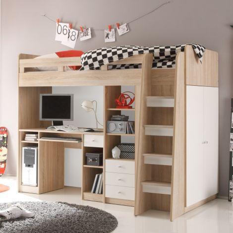Lit mezzanine Uniq 90x200 avec bureau - chêne/blanc