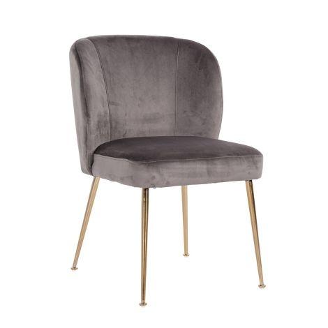 Chaise de salle à manger en velours - gris/or