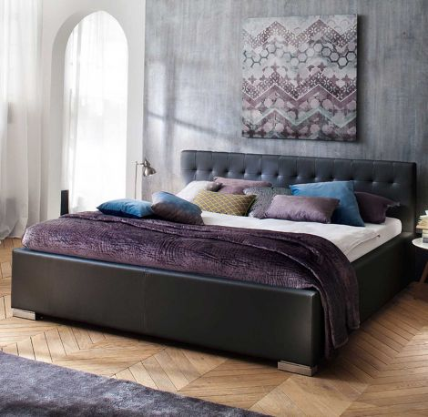 Bed Delphine 200x200 - zwart