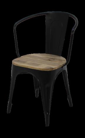 Industriële caféstoel - mangohout / ijzer