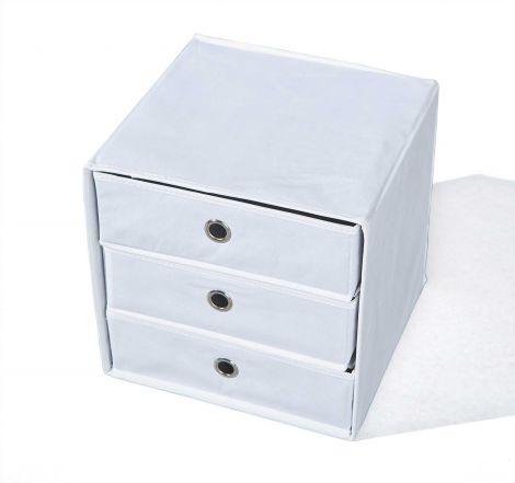 Boîte de rangement Willy 3 tiroirs - blanc