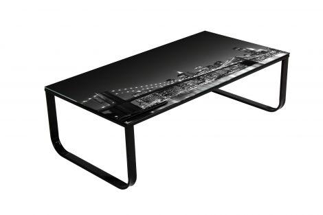 Salontafel Brooklyn 105x55 metaal & glas - zwart