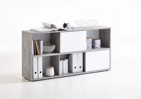 Opbergkast Futura 6 vakken - beton/hoogglans wit