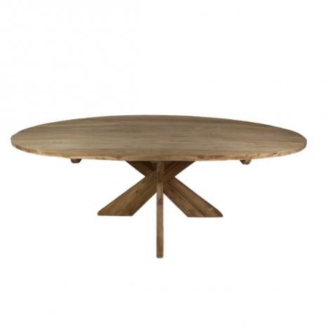Eettafel Mosy 240x120cm ovaal met kruispoot – naturel/teak