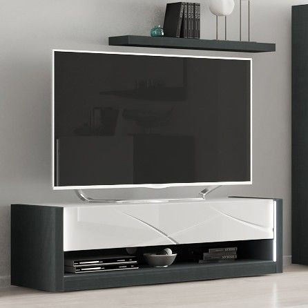 Tv-meubel Eloa 150cm - hoogglans wit/zwart