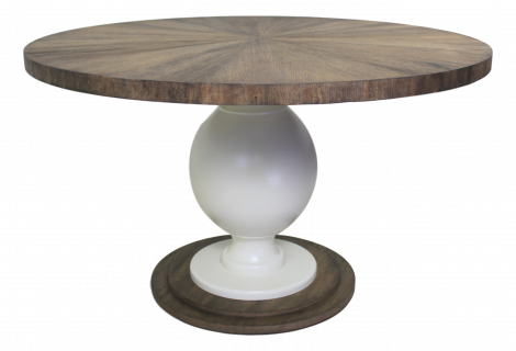 Table à manger Sunburst - ø130 cm - naturel / blanc