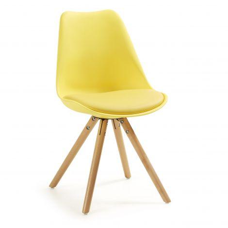 Set van 4 stoelen Ralf hout/kunststof - geel