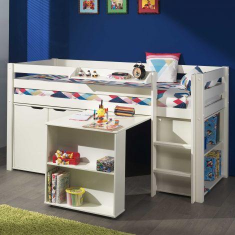Halfhoogslaper Charlotte met bureau, bibliotheek en commode - wit