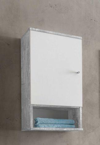 Meuble suspendu Benja 1 porte - blanc/béton
