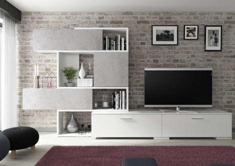 Meuble tv Verena 230cm - blanc brillant/béton