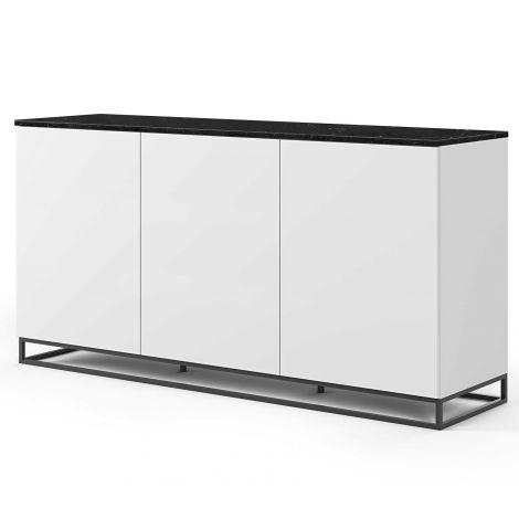 Dressoir Join 180cm hoog model met metalen onderstel en 3 deuren - mat wit/zwart marmer