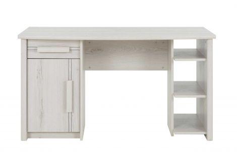 Bureau Morris 136cm avec 1 porte, 1 tiroir & 3 niches - chêne helvézia blanchi