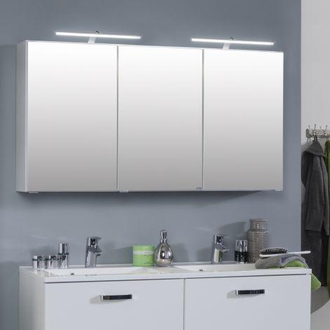Armoire de toilette Bobbi 120cm modèle 2 3 portes & eclairage LED - blanc