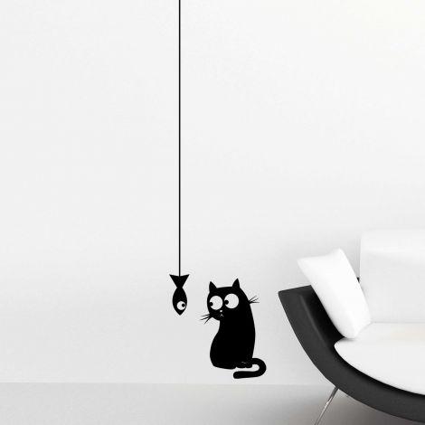 Muursticker Cat & Fish