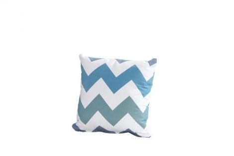 Kussen 30x30 - zigzag blauw