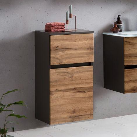 Armoire salle de bains Kornel/Luna 40cm 1 porte & 1 tiroir - gris graphite/chêne