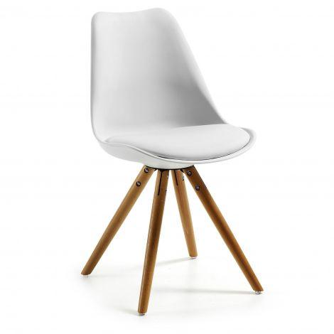 Chaise Ralf bois/plastique - blanc