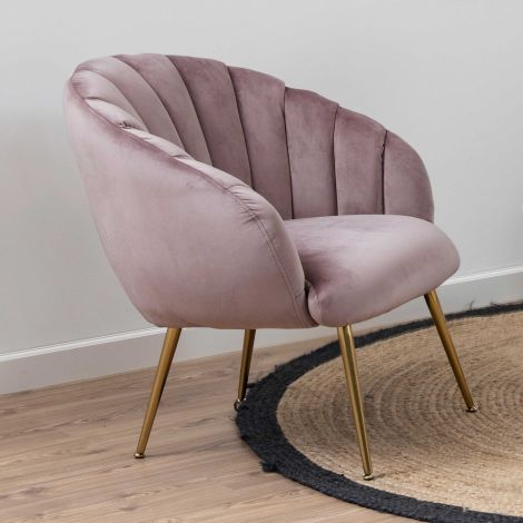 Fauteuil Dafne - roze/messing