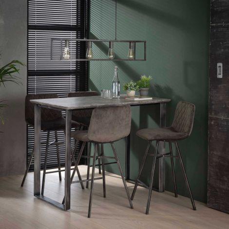 Table de bar Ava 120x70 industriel - béton/gris