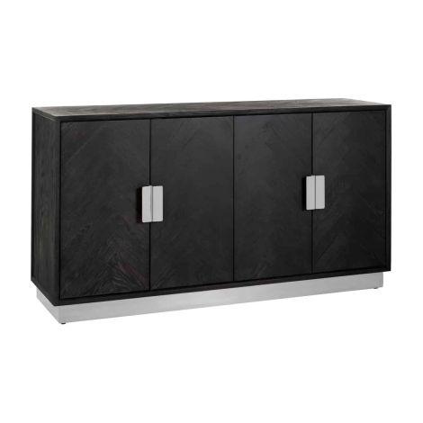 Dressoir Bony 160cm 4 deuren - zwart/zilver