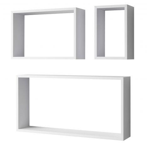 Set van 3 wandrekken Shelvy rechthoek - wit