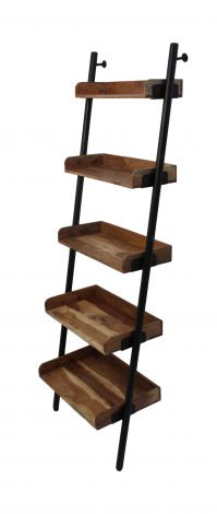 Decoratief ladderred - powdercoated black - acacia
