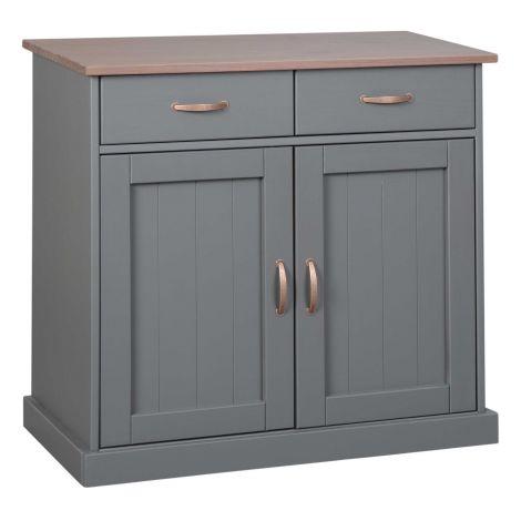 Commode Cerci 90cm avec 2 portes & 2 tiroirs - gris