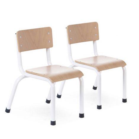 Lot de 2 chaises pour enfant - naturel/blanc