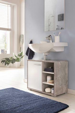 Meuble sous lavabo Benny - blanc/béton