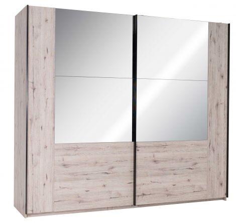 Armoire Paris 250 cm avec 2 portes coulissantes & miroir - chêne