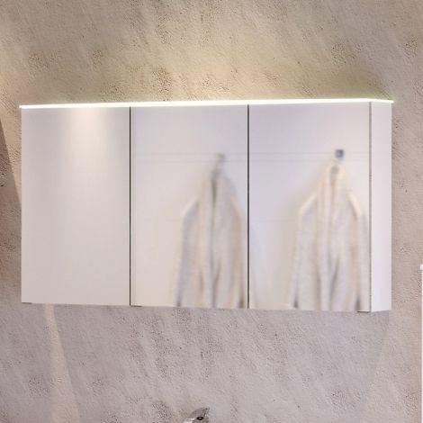 Armoire de toilette Florent courbée 100cm 3 portes & barre LED - blanc