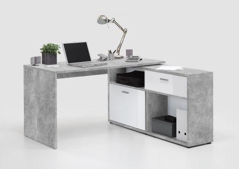 Hoekbureau Diego - beton/hoogglans wit