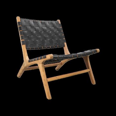 Loungestoel - leder / teak - zwart