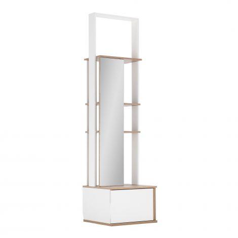 Vestiaire Birger 1 porte miroir 1 tiroir - blanc