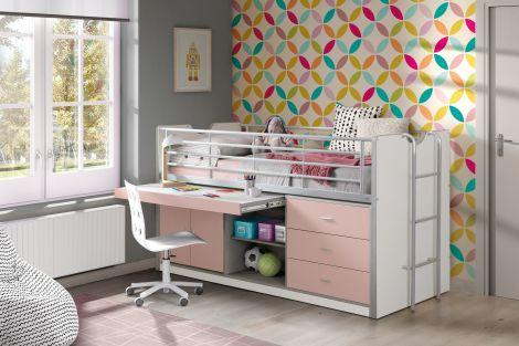 Halfhoogslaper met bureau Bonny 95 - roze