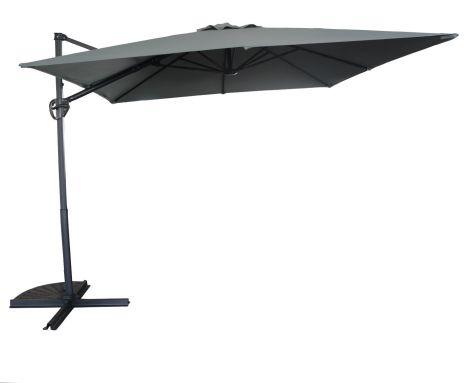 Parasol Borneo 300x300cm met kruisvoet en hoes - antraciet