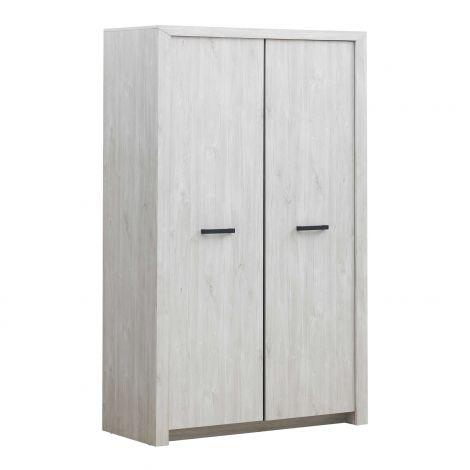 Garde-robe Elvira 126cm 2 portes - chêne blanc