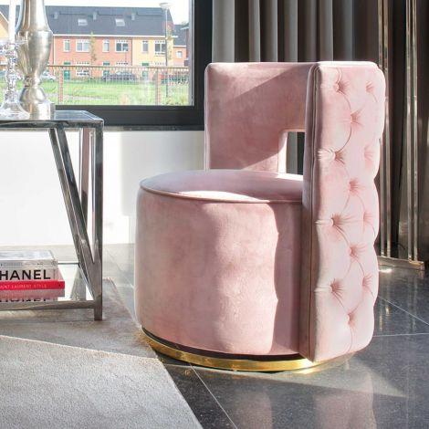 Draaifauteuil Jaume velours - roze